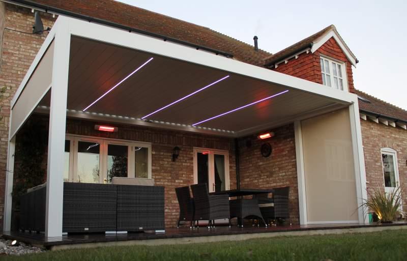 Tansun Infrared Heaters In An Outside Patio Seating Area Of