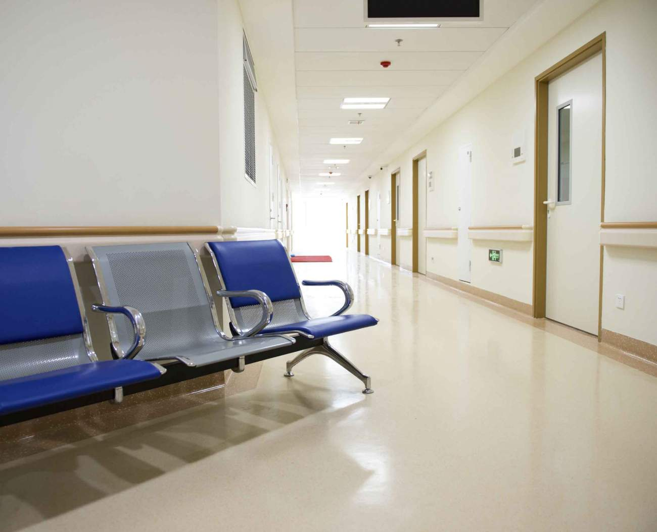 Hospital Corridor With Small Waiting Area