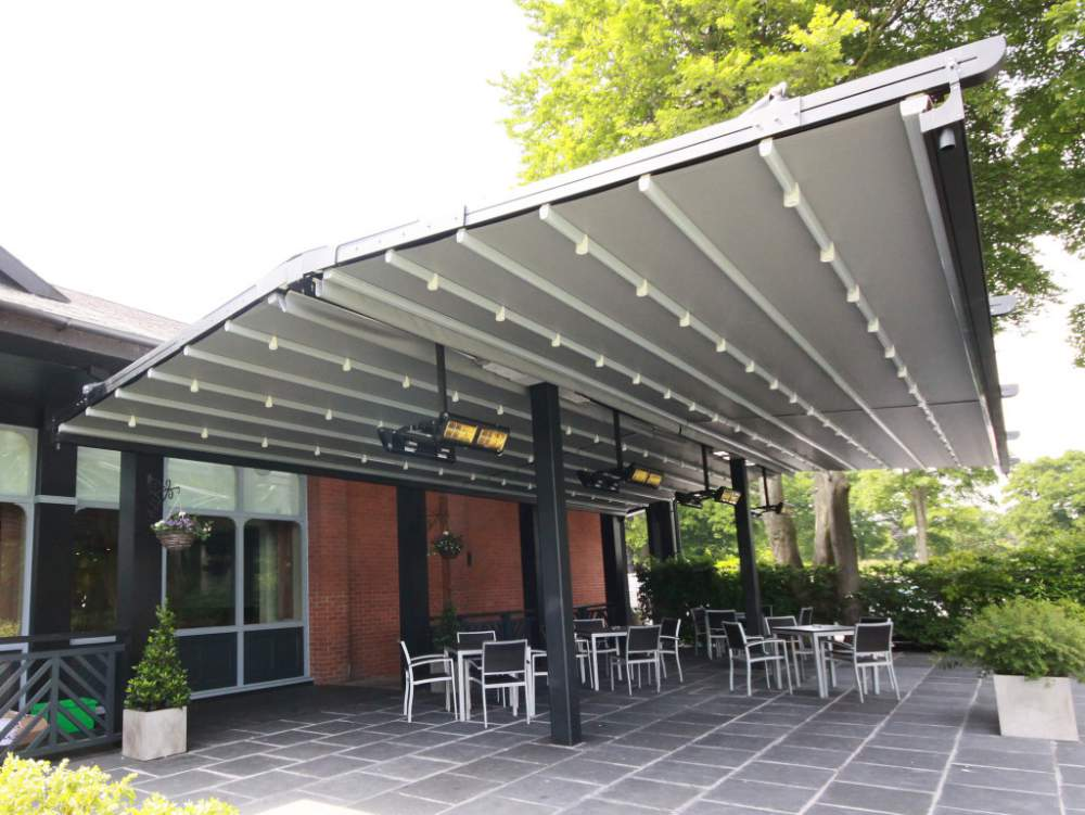 Nice Tansun Monaco Double Infrared Heaters Heating Outdoor Seating Area  Underneath Retractable Awning