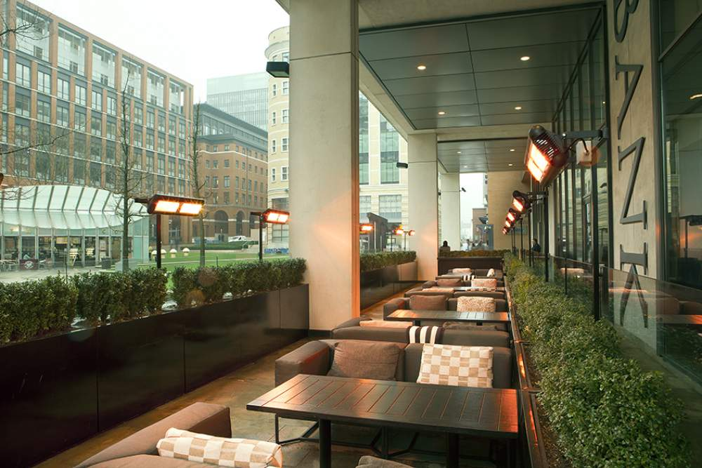 Tansun Sorrento Double Outdoor Infrared Heaters Heating Outdoor Seating  Area At Bank Restaurant In Birmingham