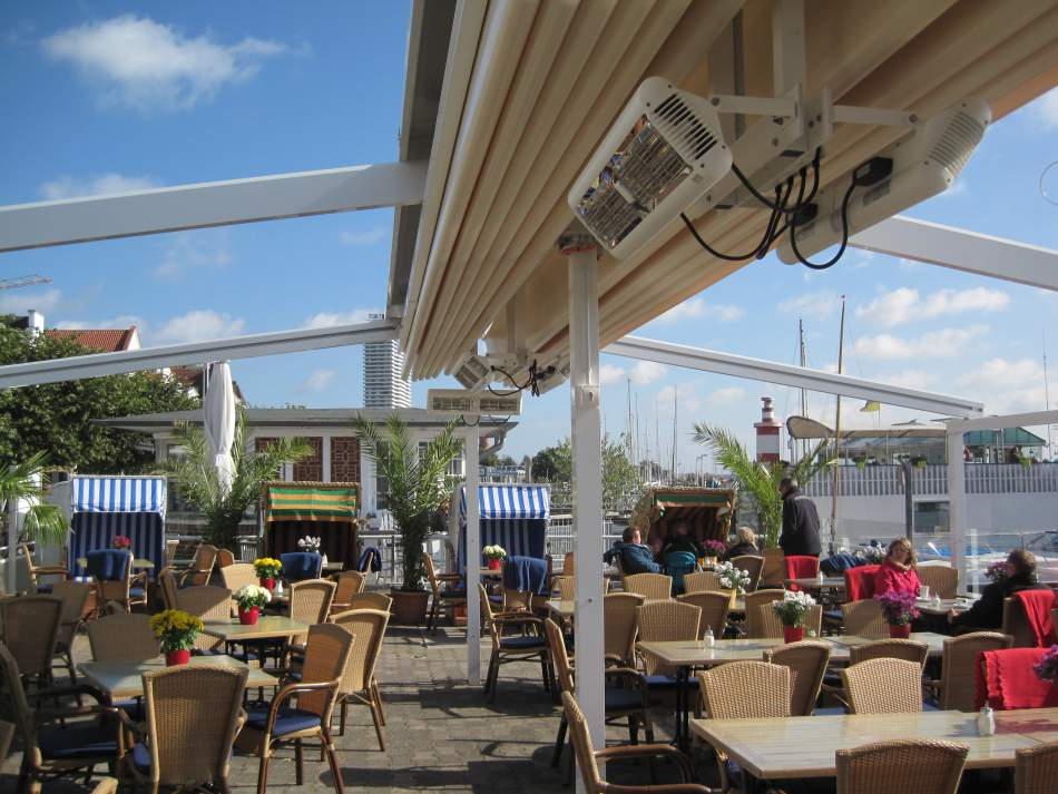Tansun Sorrento Double Commercial Patio Heaters Mounted In The Outdoor  Eating Area Of A Restaurant