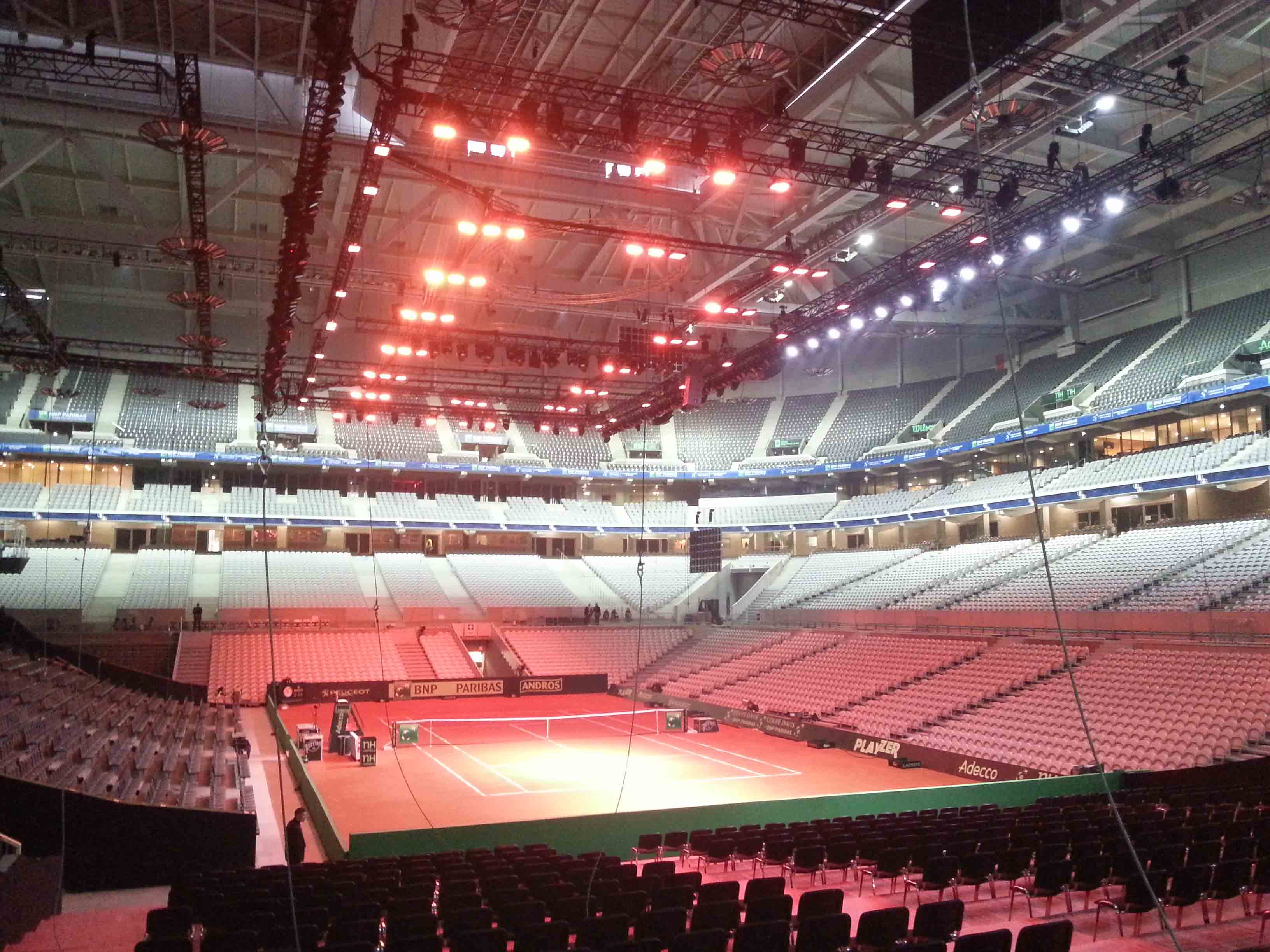 Tansun Apollo infrared space heaters mounted on ceiling of stadium for Davis Cup FInal
