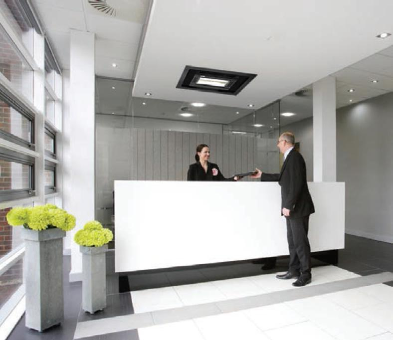 Tansun Apollo Recess Single infrared office heater installed in ceiling of office reception area
