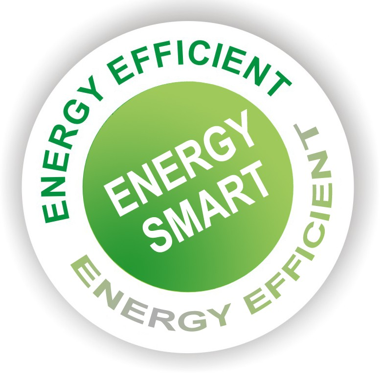 Energy efficient and every saving logo to represent the energy savings of the environmentally friendly halogen heaters